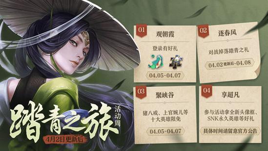 王者荣耀4月2日更新公告:对战就能免费获得SNK英雄!